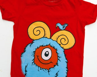 Kid's Monster T-Shirt - Red with Aqua Monster size 8