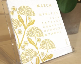 2018 Floral Hand Embossed Colour Desk Calendar, Calendar 2018, Office Calendar,Office Gift