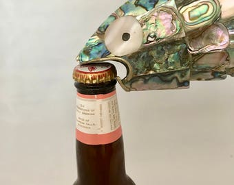 1950's Abalone, Mother-of-Pearl, and Brass Fish-shaped Bottle Opener. Vintage Exotic Fish-shaped Bottle Opener. Fish Bottle Opener
