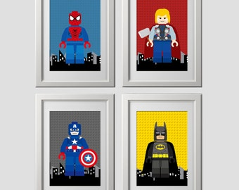 Superhero Wall Art PRINTS, Superhero Bedroom Wall Decor, 4 (8x10) Inch High  Quality Prints Shipped To Your Door, Color Backgrounds