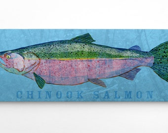 Dad Gifts, Unique Fishing Gifts for Men, Chinook Salmon Art Block, Lake Home Art, Gifts for Boyfriend, Chinook Salmon Print, Salmon Gifts
