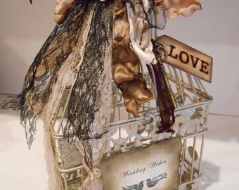 Wedding Wishes Birdcage / Wedding Decorations / Gold Birdcage Centerpiece / Wishes Box / Shabby Wedding Decor / Shabby Vintage Wedding Decor
