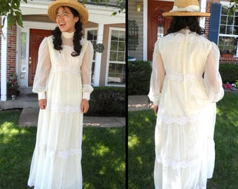 Victorian Edwardian 1900s Dress Gown Costume Adult Women Lace White Wedding 1800s Country Boho Hippie Vintage 60s 70s M L Sheer Long Sleeves