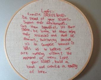 Women's Bathroom Stall Feminist Manifesto hoop art