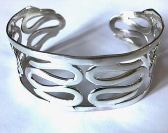 Swirl Sterling Silver Cuff Bangle/Solid Silver/Handmade
