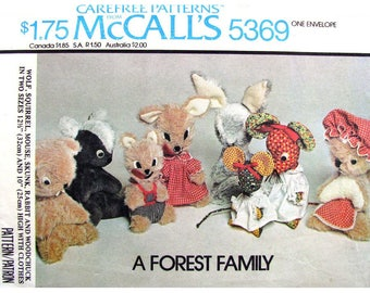 Forest Animal Stuffed Toy Pattern McCalls 5369 Woodland Animals Wolf Squirrel Mouse Skunk Rabbit Woodchuck With Clothes UNCUT