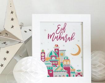 Decorative Eid Mubarak Art Print | Decorative Eid Prints | Eid Table Decoration | Eid Party decoration | Eid Decor