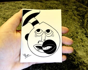 Odilo. sticker-abstract face drawing-black+white-modern art-illustration-ink