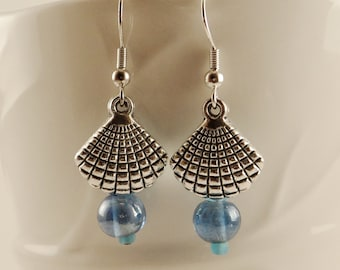 Silver Clam Shell and Blue Sea Glass Bead Earrings
