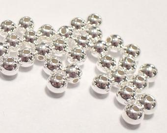 Pack of 100, 925 sterling silver seamless 4mm round bead / spacer, 1.5mm hole [our ref: pa468]