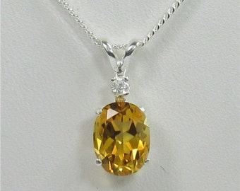 Citrine 9x7mm 1.50ct Sterling Silver Gemstone Necklace