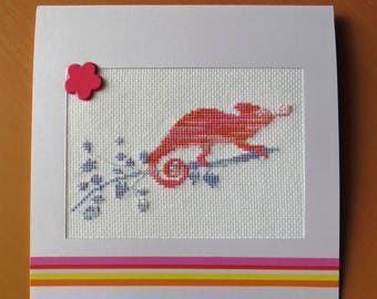Large embroidered card: The Ballad of the Chameleon pink