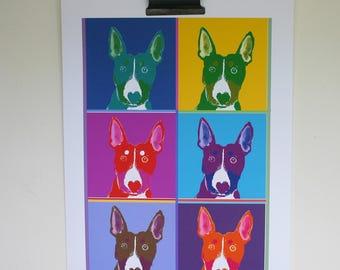 Pop Art Dog -Dog Decor - Bull Terrier Poster- Quizzical Dog - Dog Lover Gift