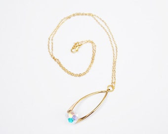 Crystal Drop Pendant on Gold Necklace