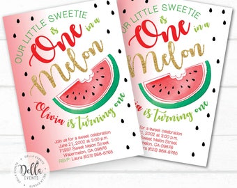 Watermelon Invitation, Watermelon Birthday Invitation, Watermelon Birthday Party, Watermelon Party, Melons, Watermelon, Summer Invitation