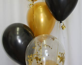 Confetti Balloons with Gold and Black balloons, Gold Confetti Balloons, Balloon Package, Gold Balloons, Black Balloons