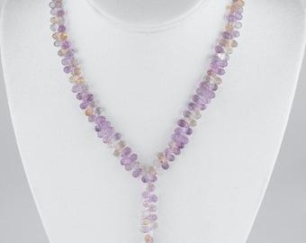 Ametrine Briolette Lariat Handmade Statement Necklace