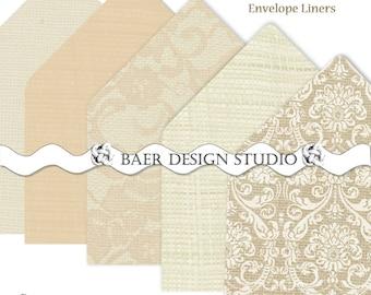 PRINTABLE ENVELOPE LINERS:Champagne Burlap Lace Printable Envelope Liners, A6 Printable Envelope Liner, A7 Printable Envelope Liner