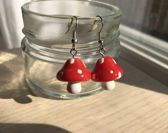 Earrings small red mushrooms