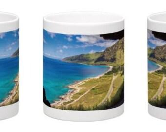 15 oz. Coffee Mug w/ Scenic View From Upper Makua Cave, Leeward Oahu, Hawaii