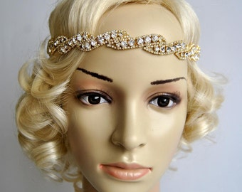 Gold Rhinestone Headband, Great Gatsby Headband, Crystal Headband, Wedding  Bridal  ribbon Headband Headpiece, 1920s Flapper headband