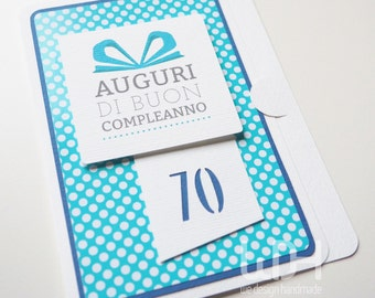 Greetings Card_70_Birthday Card_Handmade in ITALY_Best Wishes Card