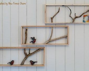 Box Shelf Wall Art reclaimed wood Shelf Tree branch Unique Home Decor Pallet Wallart