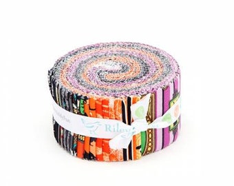 Haunted House 2 1/2 Inch Strips Jelly Roll, 40 Pieces, Cartabella Collection, Riley Blake Designs, Precut Fabric, Cotton Quilt Fabric