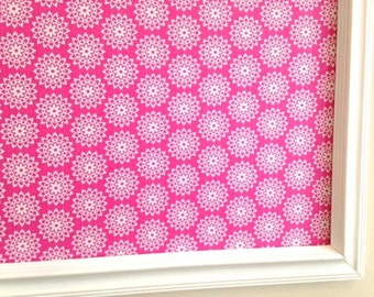 Framed Hot Pink Fabric Covered Pinboard Jewelry Board