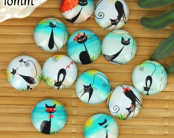Set of 12 cabochons 18mm glass cat, vacation, beach, ZC4