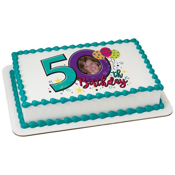Happy 50th Birthday - Edible Cake and Cupcake Photo Frame For Birthdays and Parties! - D24114