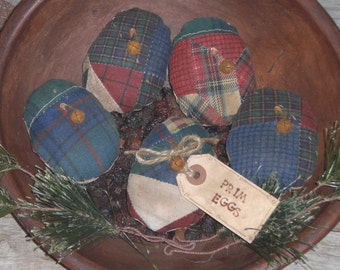 5 Primitive Rustic Olde Time Country Quilt Top  Fabric Easter Eggs Ornies Ornaments Tucks Bowl Fillers