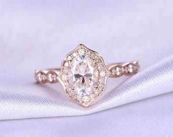 6x8mm Oval Moissanite Engagement Ring Forever Classic Moissanite Ring 14k Rose Art Deco Wedding Band Forever Brilliant Moissanite availiable