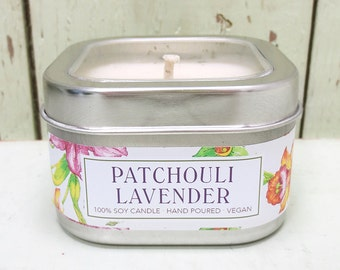 Patchouli Lavender Soy Candle 8 oz. - Green Daffodil Soy Candleworks - Handpoured - Siouxsan and Anne -C8