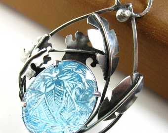 Jungle in the Sky Necklace - Carved Blue Topaz and Sterling