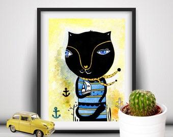 Cat Watercolor, Original Cat Painting, Cat Illustration, Cat Wall Art, Nautical Nursery Decor, Modern Pet Art, Animal Wall Art