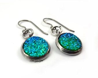 Green Blue Ombre Druzy Dangle Earrings - 10mm Green Druzy Earrings w/ Titanium Earwires & Stainless Bezels - Faux Druzy Dangle Earrings