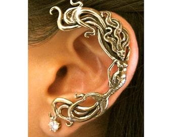 Mermaid Ear Wrap Bronze - Mermaid Ear Cuff - Siren - Mermaid Jewelry - Mermaid Earring Elf Ear Cuff Bronze Ear Cuff Ear Wrap Bronze Ear Wrap