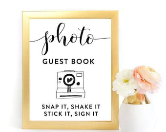 Photo guest book, snap it, shake it, stick it, sign it, wedding guest book, 8x10, 5x7, wedding printable, wedding sign