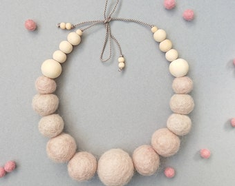 Felt Ball Necklace with Wooden Beads // Light Latte // FREE gift box