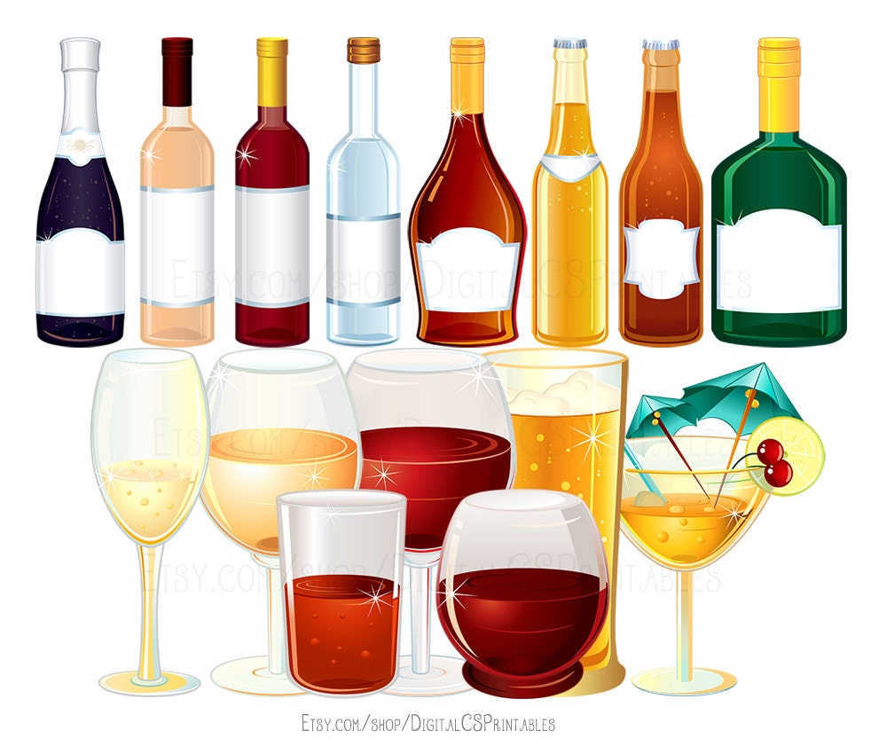 drink clipart wine clipart alcohol clipart bottle clipart rh etsy com drinking alcohol clip art drinks clip art free