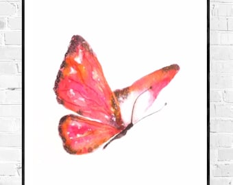 Original pink Butterfly Watercolor-A5-colorful animal art-original art-ZenWatercolors-children's room art-minimalist art-pink art