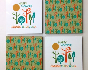 Columbus IN Happy Camper Coaster Set