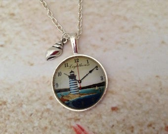 Silver plated setting printed Lighthouse design glass cabochon Shell Silver tone chain Jewellery Pendant