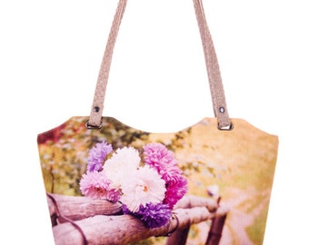 Bouquet of Flowers Bag Floral bag Floral tote bag Floral shoulder bag Peony tote bag Fabric handbags Photo handbags Canvas bag Floral purse