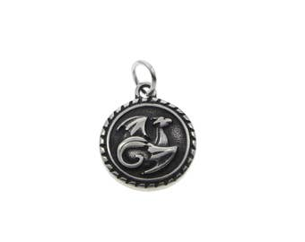 1 Round dragon pendant stainless steel 20mm blacken charms