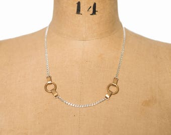 Aaliyah Mixed Metal Silver and Brass Necklace