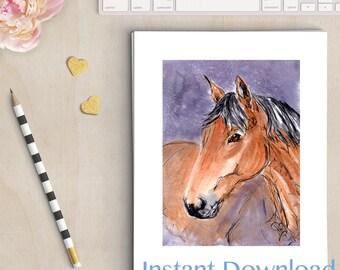 Horse Art, Equine Art, Horse Lover Print, Chestnut Brown Horse painting, digital download, INSTANT DOWNLOAD printable wall art.