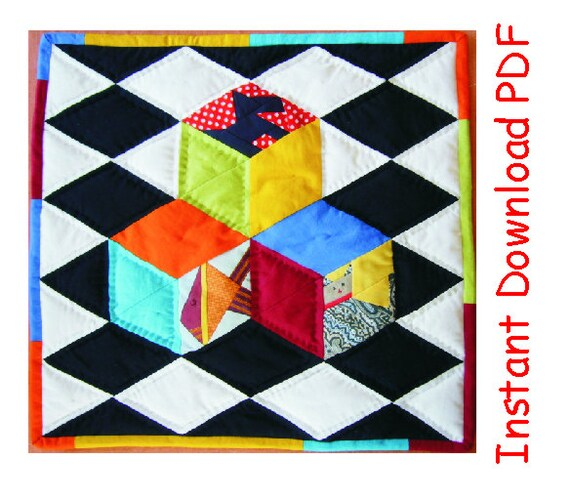 3d Paper Pieced Quilt Pattern Kids Cubes On Chessboard