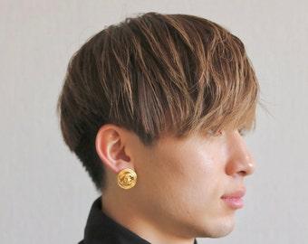 Authentic Vintage Chanel earrings CC logo round ea1529
